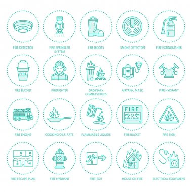 Firefighting, fire safety equipment flat line icons. Firefighter, fire engine extinguisher, smoke detector, house, danger signs, firehose. Flame protection colored thin linear pictogram. icon