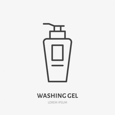 Washing gel flat line icon. Beauty care sign, illustration of liquid soap dispenser. Thin linear logo for makeup, cosmetics store. icon