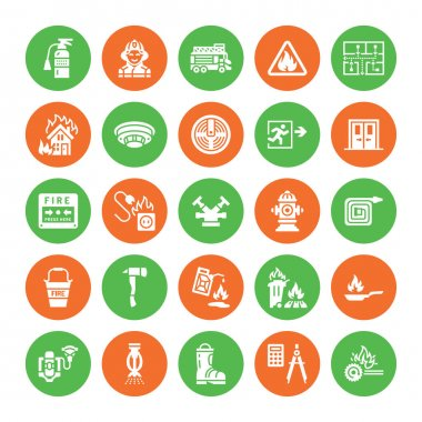 Firefighting, fire safety equipment flat glyph icons. Firefighter car, extinguisher, smoke detector, house, danger signs, firehose. Flame protection pictogram. Solid silhouette icon