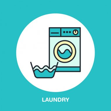 Hand washing of clothes and washing machine colored flat line icon. Vector logo for laundry or dry cleaning service. Linear illustration of gentle wash. icon