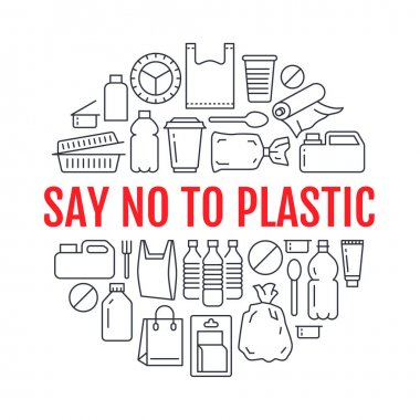 Stop using plastic circle template with flat line icons. Polyethylene pollution awareness vector illustration for poster. Thin signs of plastics waste, bag, package, canister, bottle, food container. icon