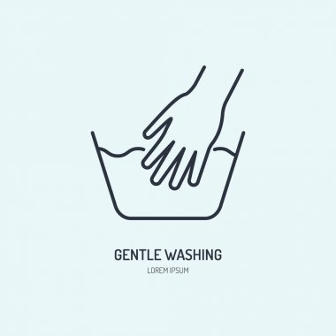 Hand washing of clothes line icon. Vector logo for laundry or dry cleaning service. Linear illustration of gentle wash. icon