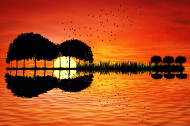 guitar island sunset