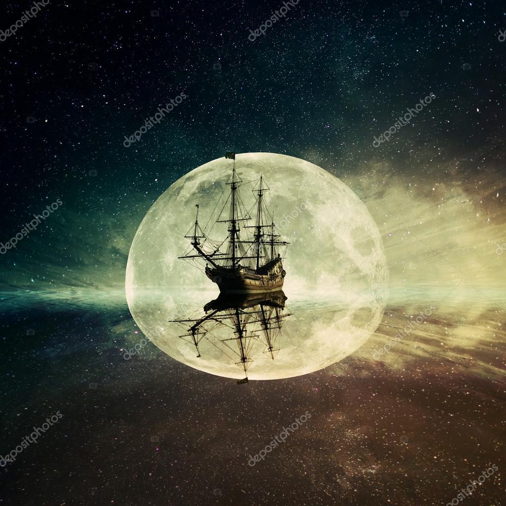 ghost ship moonlight