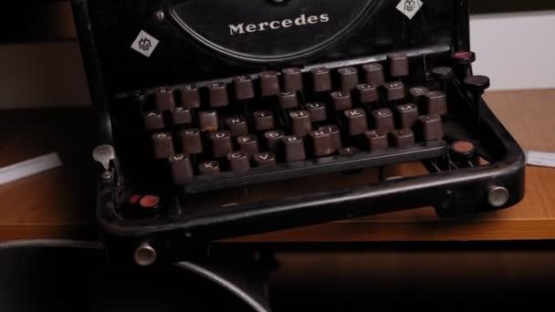 DONETSK, UKRAINE - DECEMBER 9, 2020: Close-up of a retro typewriter. Vintage.