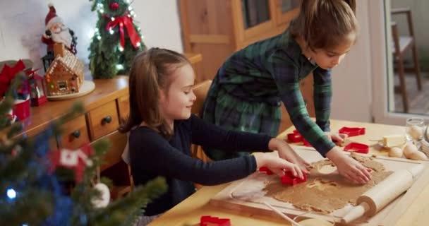 két aranyos nővér, hogy és díszítik karácsonyi mézeskalács cookie-k
