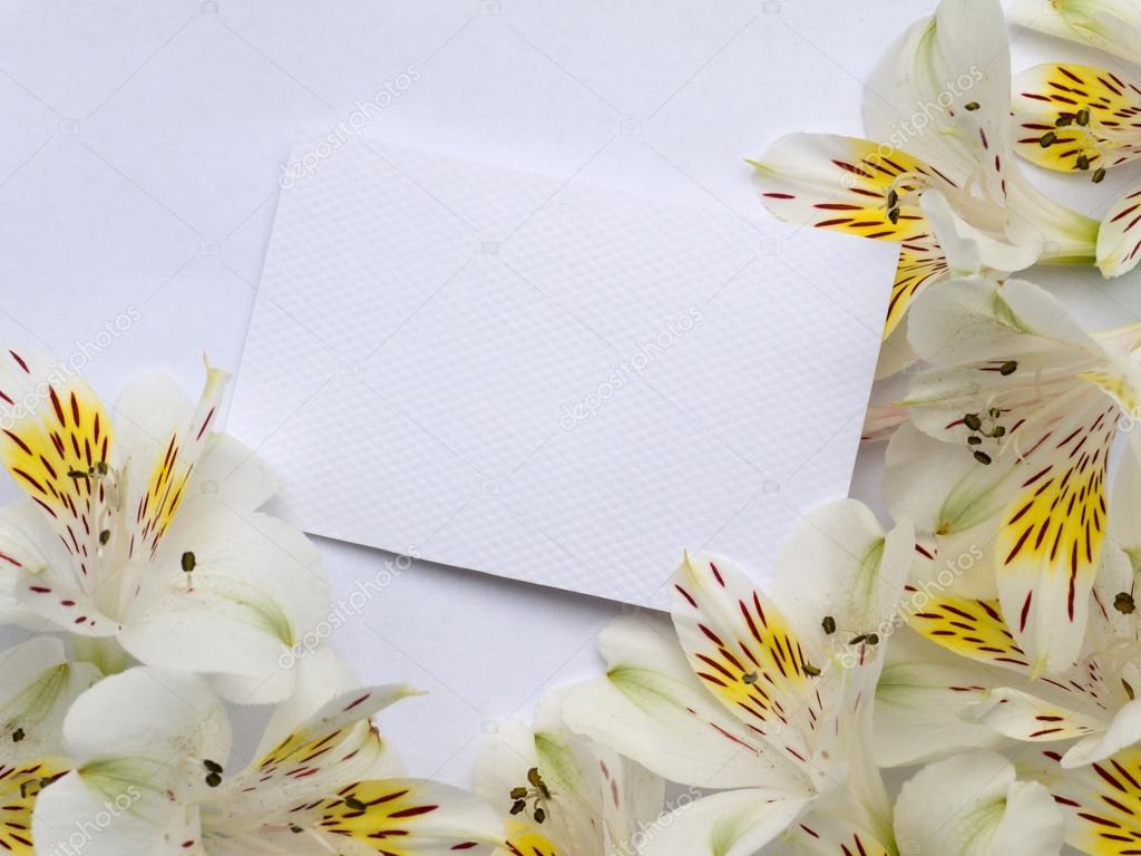 Открытка пустая с цветами