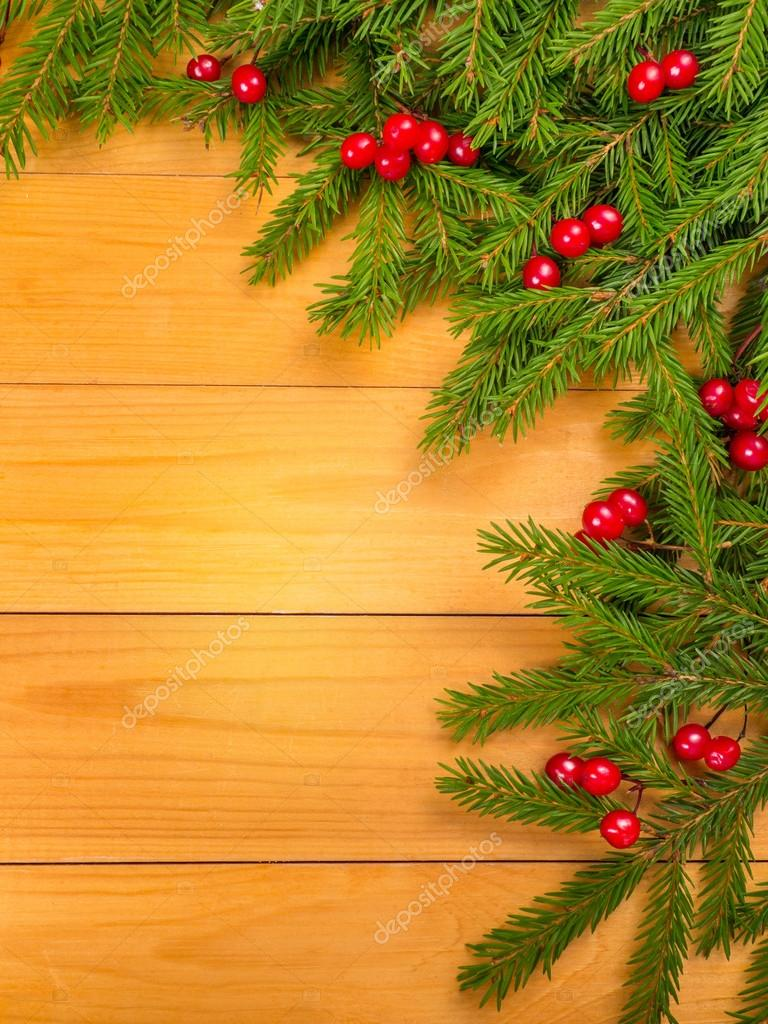 Christmas Tree And Red Berries Corner Stock Photo C Photohampster
