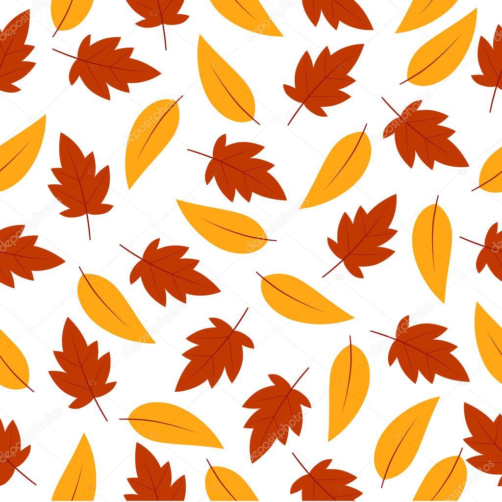 シームレスな背景秋イラストとオレンジ色のメープルの葉の壁紙、メモ用紙