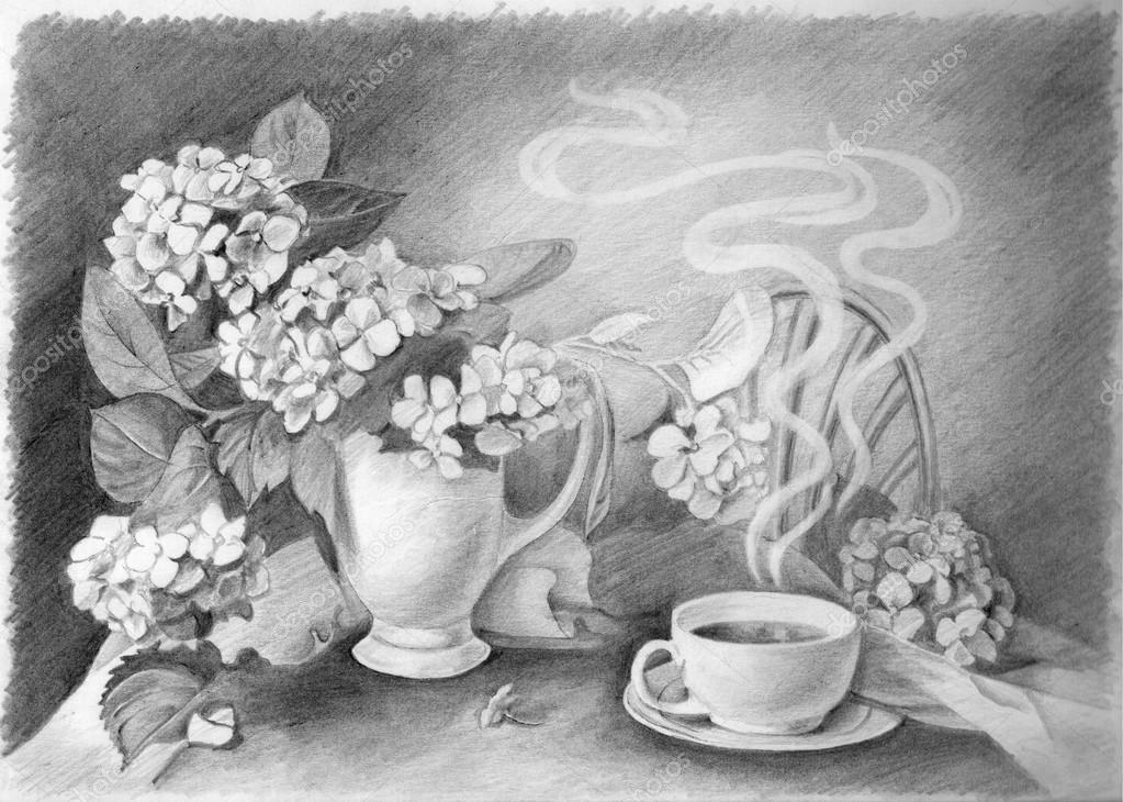 Bleistiftzeichnung Stillleben Tasse Heißen Kaffee Und Blume In Vase