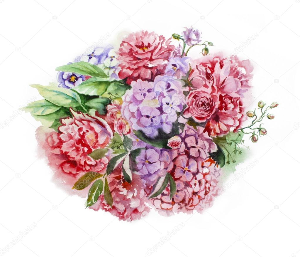 Dibujos Flores Hortensias Mano De Verano Dibujo Acuarela Floral