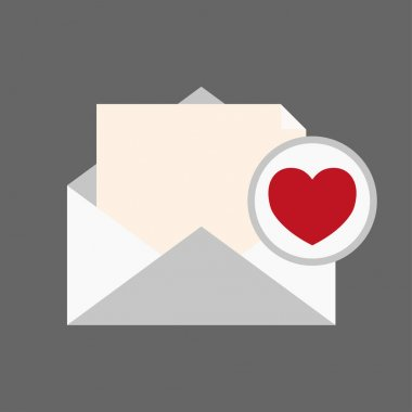 Message envelope and heart notification icon. Love message icon