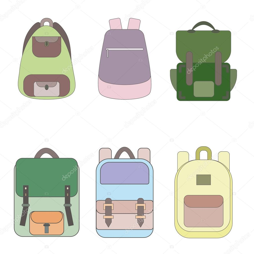 7a8d13be92d9 Backpack icon. Collection of six different backpacks. School backpack. Sport  backpack. Travel backpack. Flat line style vector illustration.