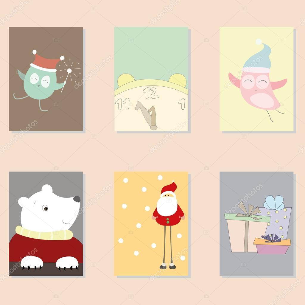 Lindo Vector tarjetas de Navidad — Vector de stock © lannanster ...