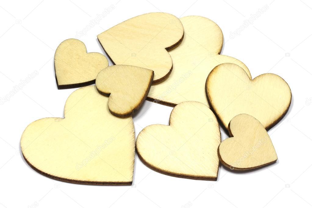 Set Of Wooden Heart Shape Isolated On White Background Love Symbol