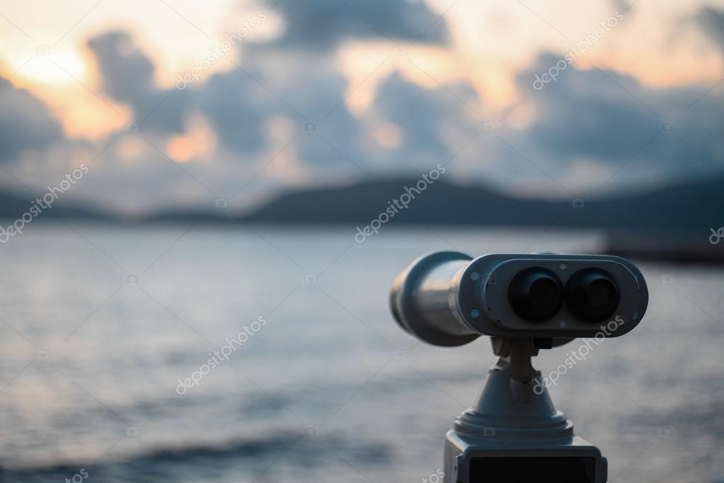 Binoculars toward the sea