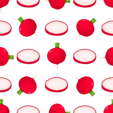 Illustration on theme of bright pattern red radish, vegetable root for seal. Vegetable pattern consisting of beautiful red radish, many root. Simple colorful vegetable pattern from root red radish. icon