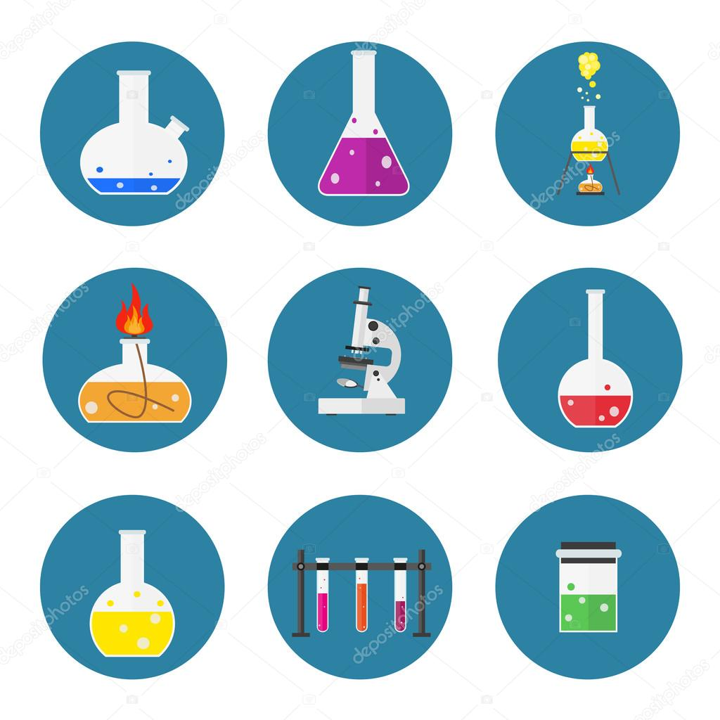 Set Of Laboratory Equipment Chemists Scientists Flat Design Workspace Concept Chemistry And Physics Biology Infographic Icons