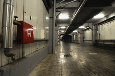 big underground corridor in warehouse