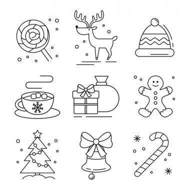 Set of flat christmas icons. Vector illustration. icon