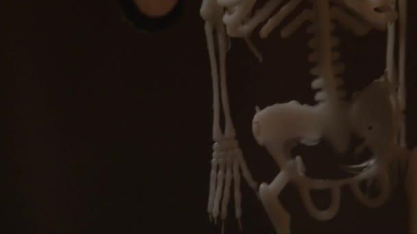 Scorrimento verticale di scheletro appeso su uno sfondo scuro