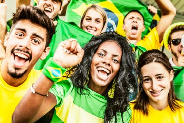 Brazilian Fans Cheering at the Stadium