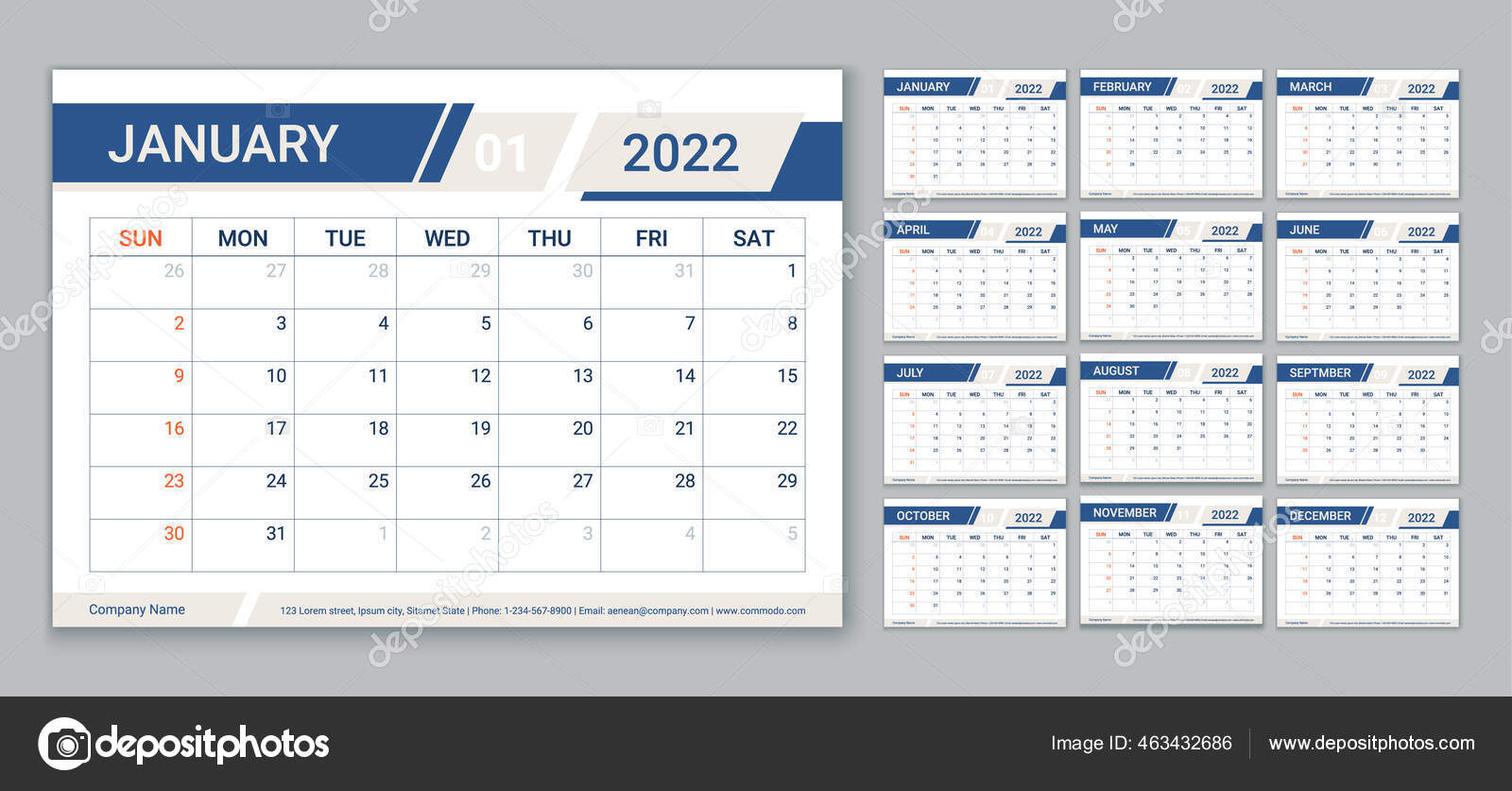 Planner Calendar 2022 Year Calender Template Week Starts Sunday Vector Vector Image By C Maradaisy Vector Stock 463432686