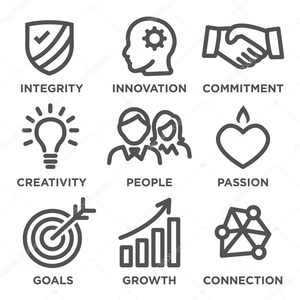Company core values outline icons stock vector bearsky23yahoo company core values outline icons with integrity innovation commitment creativity people passion goals vector by bearsky23yahoo biocorpaavc Image collections
