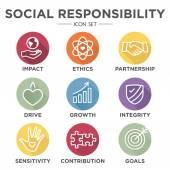 Společenská odpovědnost osnovy Icon Set