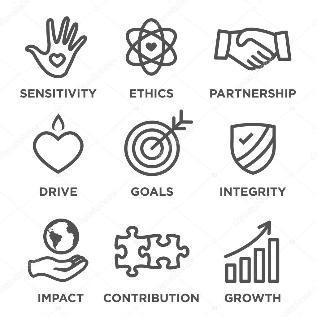 Social responsibility outline icon set stock vector bearsky23 social responsibility outline icon set drive growth integrity sensitivity contribution goals vector by bearsky23yahoo biocorpaavc Image collections