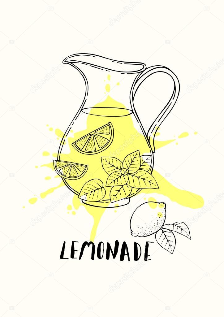 Ilustración de una jarra de limonada fresca con limón y menta ...