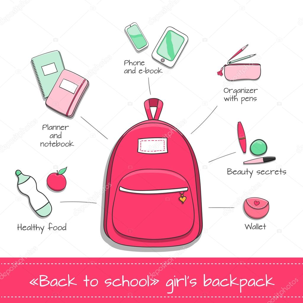 Student girl infographic vector  Supplies from girls