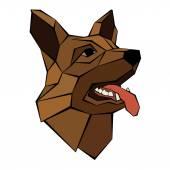 Fotografie Deutscher Schäferhund Hund Kopf realistischen Stil