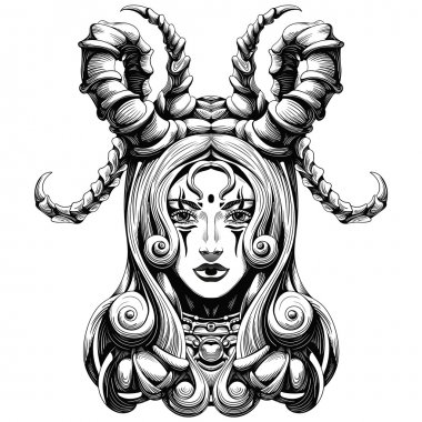 woman with long horns demon