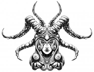 Girl in a helmet with horns