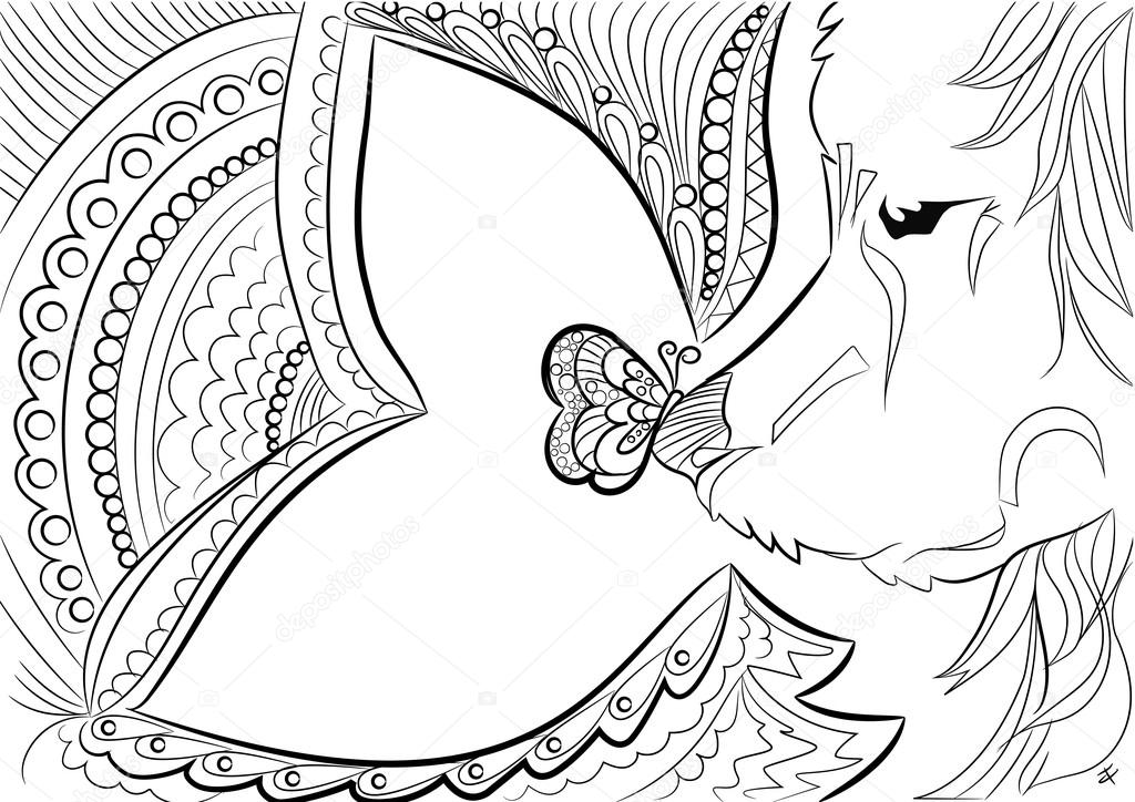Hund. Zen-Gewirr. Liebe. Schmetterling. Schwarz weiß gezeichnet ...