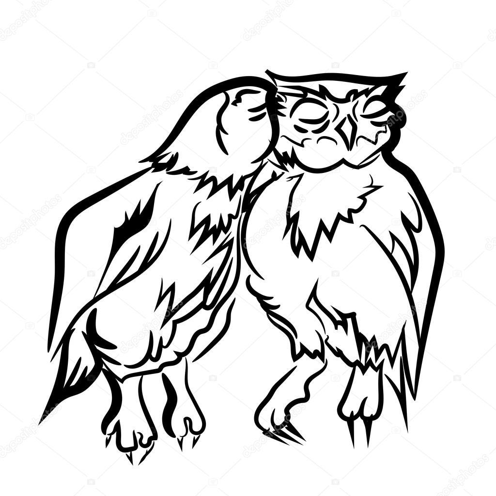 Amor. Buho de águila. Aves. Doodle dibujado mano blanco negro ...