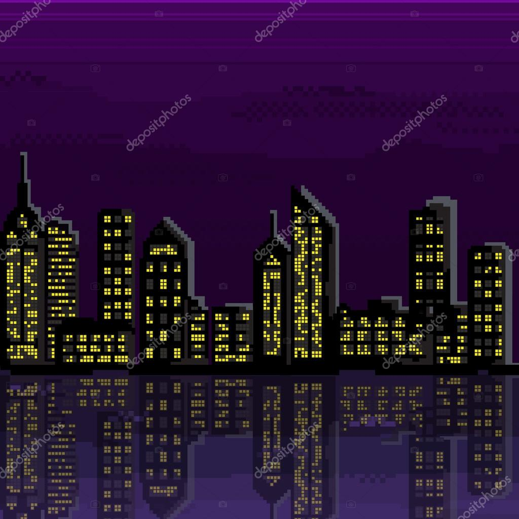Piksel şehir İllüstrasyonu. Piksel Sanat şehrinin Vektörü
