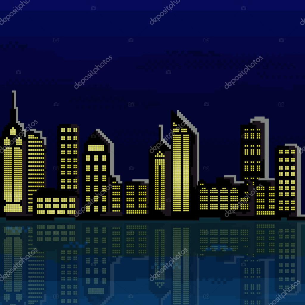 Illustration Of Pixel City. Vector Of
