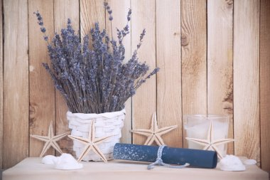 lavender in pots with starfish