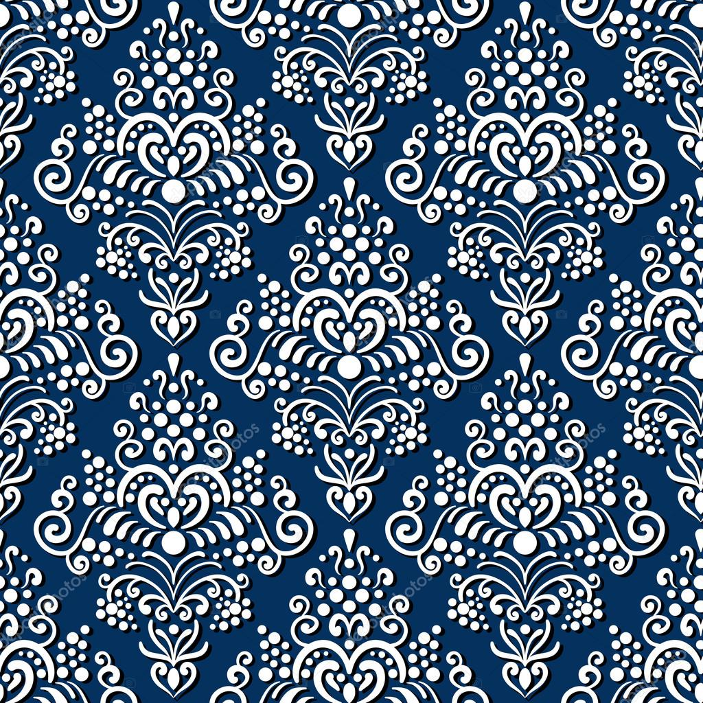 Vintage Background Classic Style Texture For Wallpaper Textile Fabric Scrap Paper Etc White Ornament With Shadow On Dark Blue