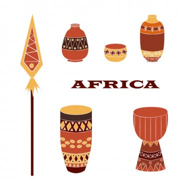 Set of most popular African items: decorative pitchers, drums, voodoo spear with ornaments and folkloric elements.