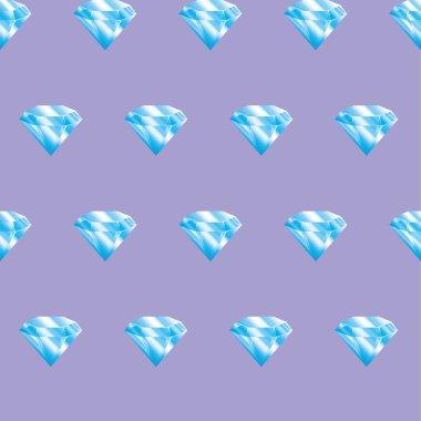 Seamless pattern blue diamonds on violet background. Brilliants