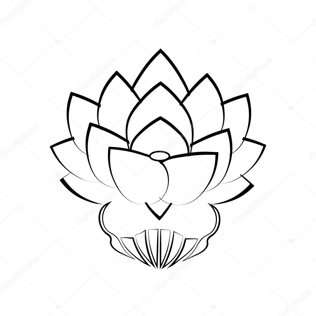 Black Stylized Image Of A Lotus Flower On A White Background Tattoo