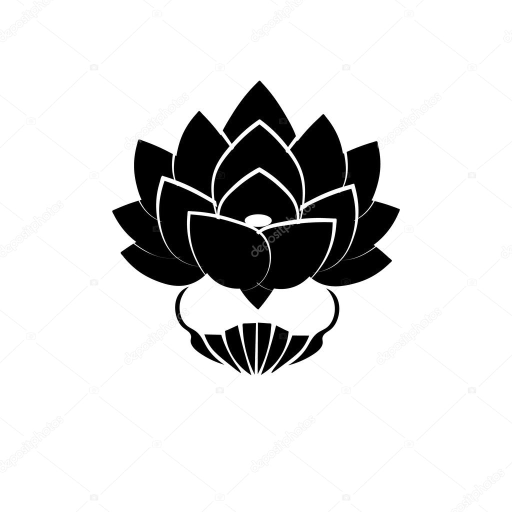Black stylized image of a lotus flower on a white background the black stylized image of a lotus flower on a white background the symbol of commitment mightylinksfo