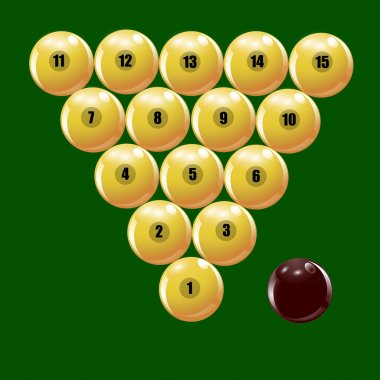 Set of balls to play Russian billiards illustration
