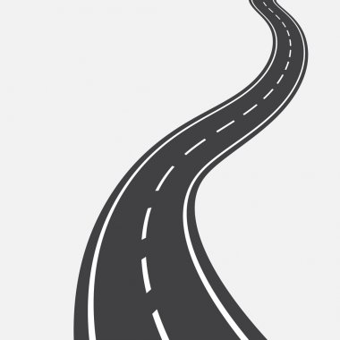 Curved road with white markings. illustration