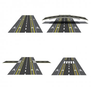 Set of different road sections with peshihodnymi crossings, bicycle paths, sidewalks and intersections. illustration