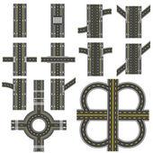 Fotografie Satz von verschiedenen Straßenabschnitten mit einem kreisförmigen dvizheniemi Isolation. Übergänge, Kurven und verschiedene Kreuzungen. Serie zeigt die Bürgersteige, markierte Radwege. Blick von oben. Illustration