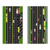 Fotografie Autobahn zu planen. Straßen, Straßen mit Parkplätzen und öffentlichen Verkehrsmitteln. Bilder von verschiedenen Autos, Bahnen für den öffentlichen Verkehr. Ansicht von oben. Abbildung